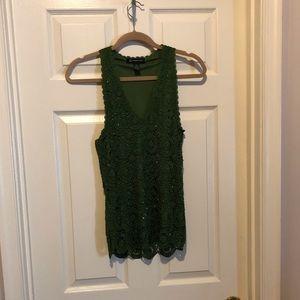 INC green sparkle woven tank - size L